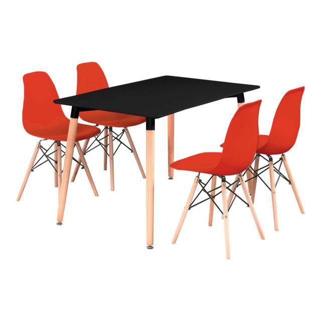 Home Design International - Ensemble Table de Salle à Manger Noire + ...