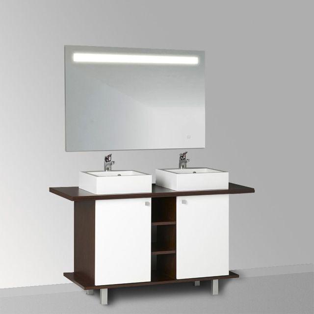 Meuble salle de bain STEFIA 100-136 double vasque - Blanc