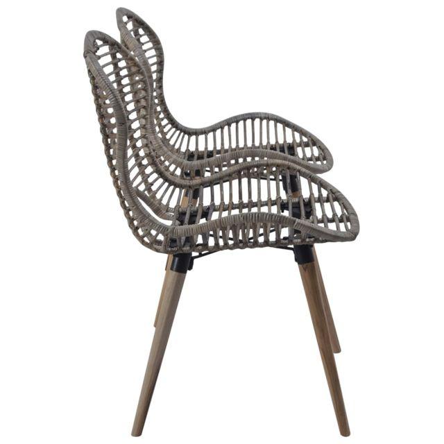 Chaise de jardin 2 pcs Rotin 48x64x85 cm Marron | Brun Sièges d'extérieur Chaises d'extérieur | Brun | Brun