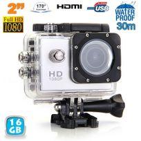Yonis - Caméra sport étanche 30m 2'' Hd 1080p grand angle 170° Argent 16 Go