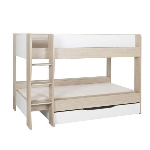 Tousmesmeubles Lit superposé 90 200 cm + tiroir Bois/Blanc - Rosemie