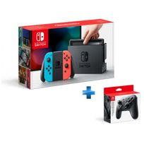 Console Switch avec un Joy-Con rouge néon et un Joy-Con bleu néon + Manette Switch Pro