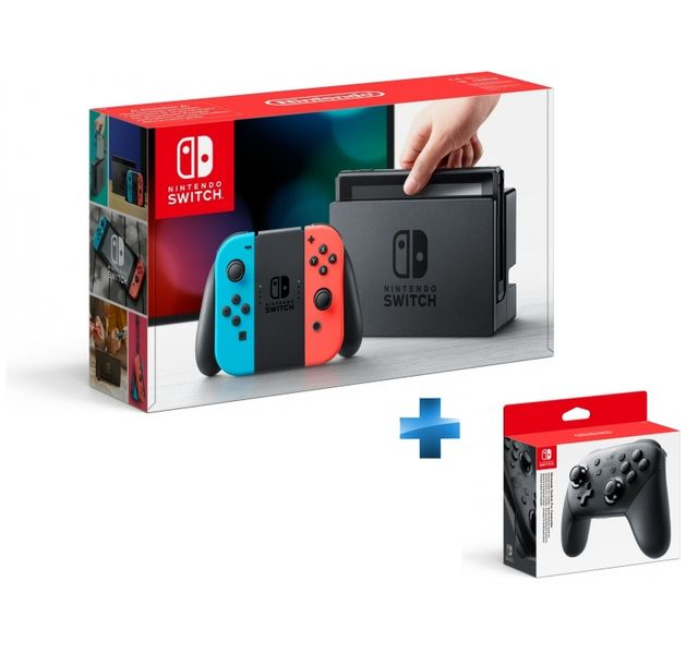 NINTENDO - Console Switch avec un Joy-Con rouge néon et un Joy-Con bleu néon + Manette Switch Pro