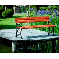 Garden - Banc de jardin en bois couleur acajou et aluminium 150cm avec accoudoirs