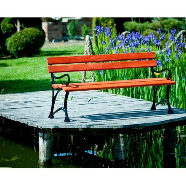 Garden Banc de jardin en bois couleur acajou et aluminium 150cm avec accoudoirs
