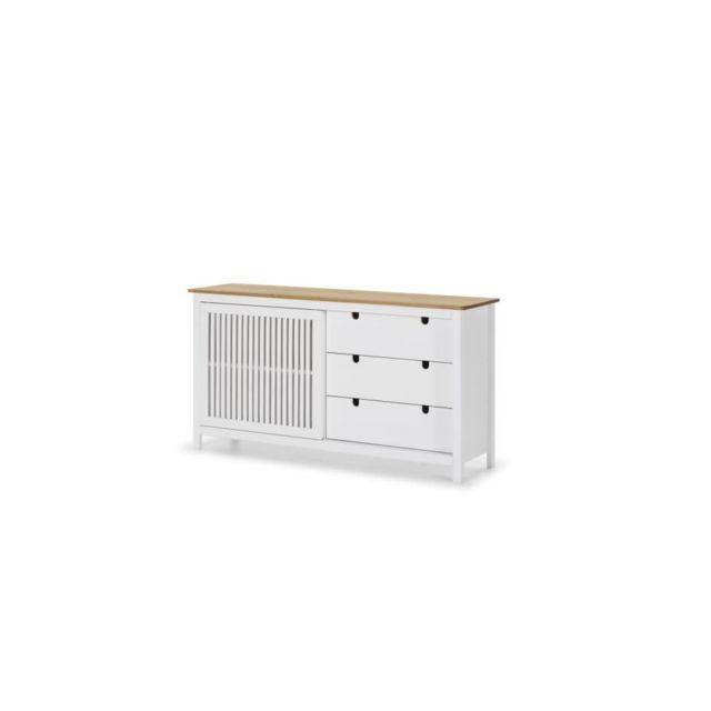 VALENTINA Buffet bas 1 porte 3 tiroirs - Décor chene et blanc - L 150 x P 40 x H 80 cm
