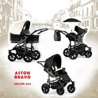 Autre - Poussette trio Aston Bravo noir blanc châssis silver roue alpha black