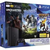 SONY - Pack PS4 SLIM 1To E Noire + Horizon Zero Dawn + Uncharted : The Lost Legacy + Ratchet & Clank + Qui es-tu
