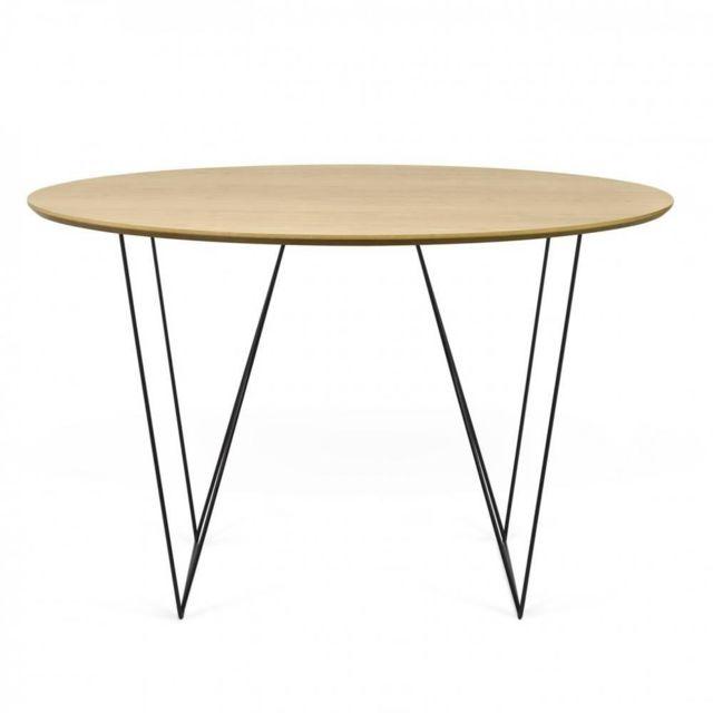 Inside 75 Table repas design Otmar 120cm plateau chêne piétement acier noir
