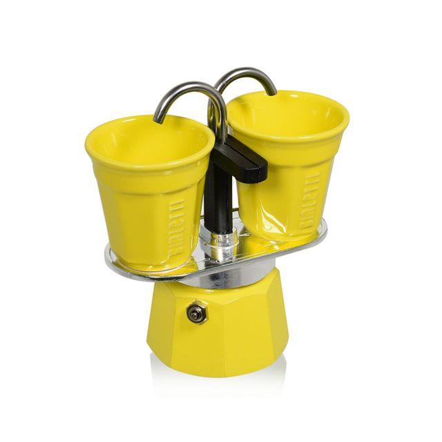 BIALETTI - cafetière italienne + 2 tasses bicchierini jaune - 0006193
