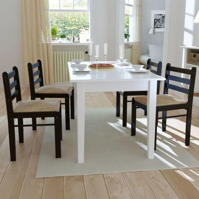 Sans Marque Set de 4 chaises marron en bois avec dossier carré