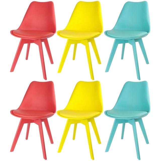 promobo ensemble lot de 6 chaise scandinave coque avec coussin art dco couleur flashy - Chaises Scandinaves Couleur