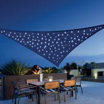 MOREL - Voile d'ombrage ciel étoile triangulaire solaire 100 led 360 cm toile 180 g/m² éclairage fixe ou animé