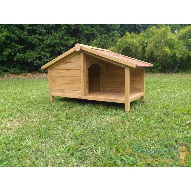 aqua occaz niche pour chiens ou chats en bois trait 107 cm avec toit hydrofuge pas cher. Black Bedroom Furniture Sets. Home Design Ideas