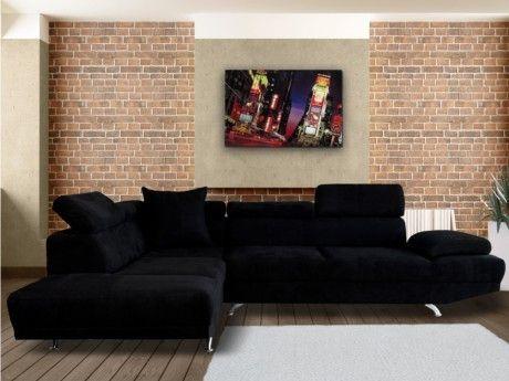Canapé d'angle XL en tissu ROMAIN - Noir angle gauche