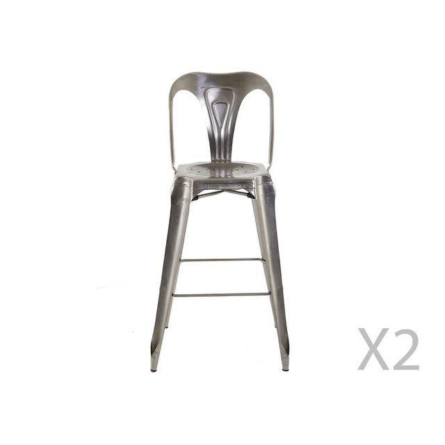 Akhal Lot de 2 chaises de bar en acier avec repose-pieds Indya - Antique