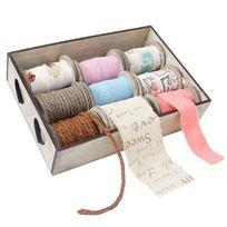 Mendler - Box de décoration, bandes de décoration, boîte à ficelles, 9 galets