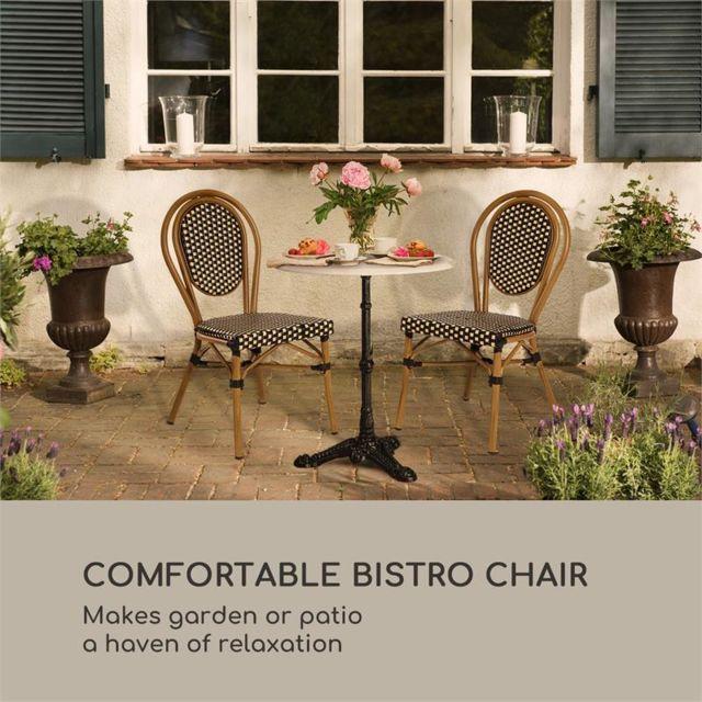 Montpellier BL Set 2 chaises de jardin style bistro alu noir & crème