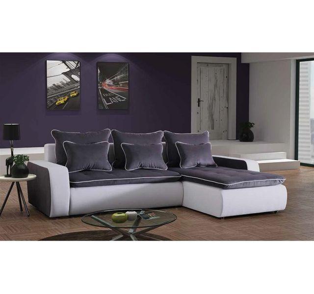 705b4d604891f Chloe Design - Canapé d angle convertible design Vincenzo - blanc et gris -  Angle