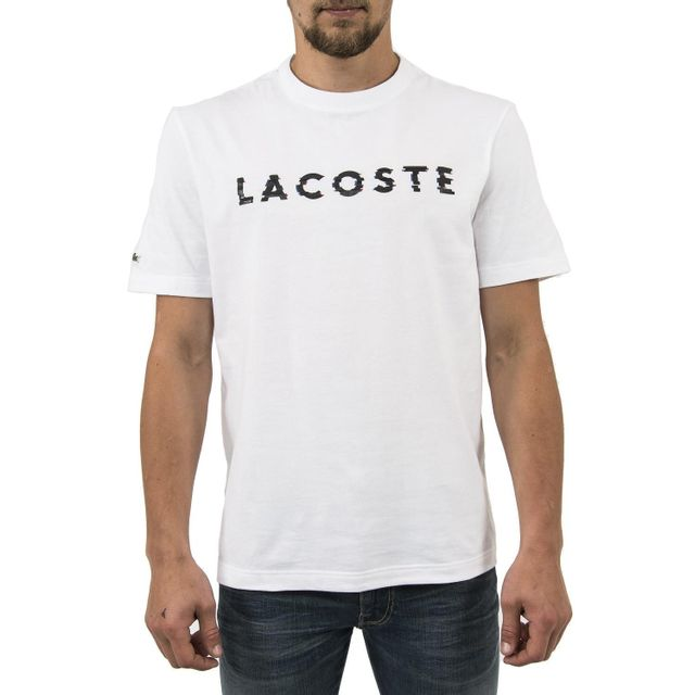 lacoste tee shirt th1895 blanc 7 pas cher achat. Black Bedroom Furniture Sets. Home Design Ideas