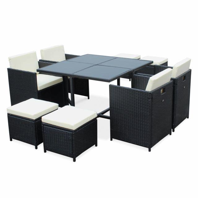 alice 39 s garden salon de jardin 4 8 places cubo coloris noir coussins crus table. Black Bedroom Furniture Sets. Home Design Ideas