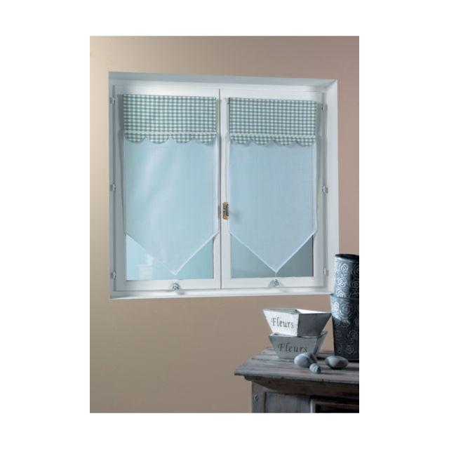 homemaison paire de voilage vitrage avec parement vichy bouchara gris pas cher achat vente. Black Bedroom Furniture Sets. Home Design Ideas
