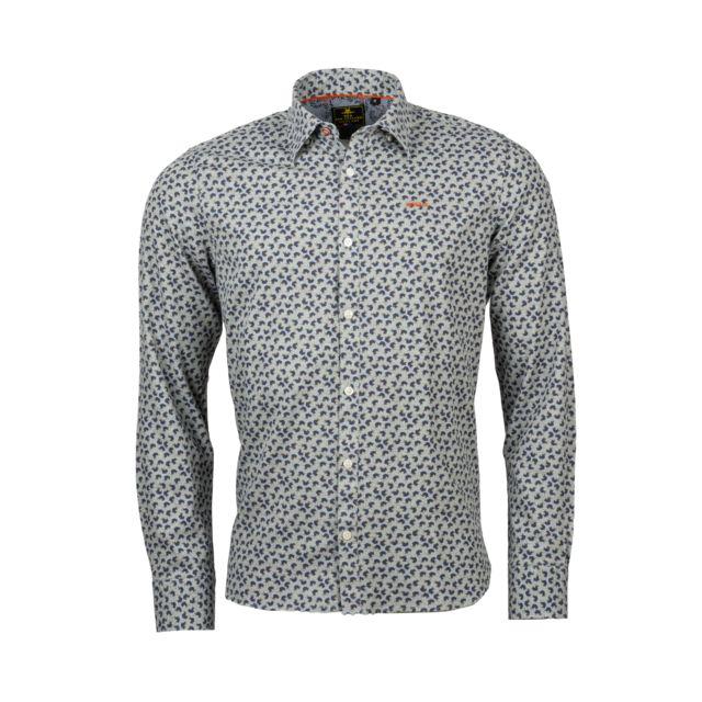 New Zealand Auckland Chemise ajustée Maropea en coton gris à motifs