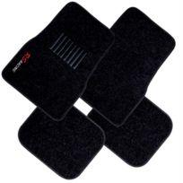 Imdifa - Jeu de 4 tapis moquette noirs broderie Rs Racing
