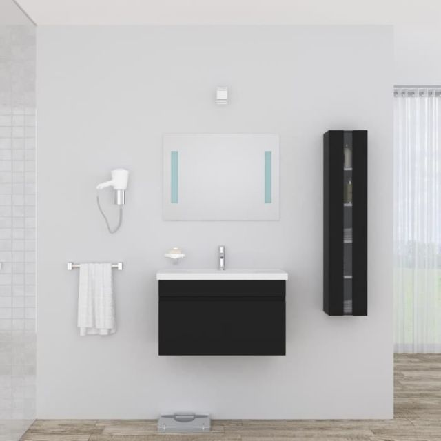 SALLE DE BAIN COMPLETE ALBAN Ensemble salle de bain simple vasque avec miroir L 80 cm - Noir laqué brillant