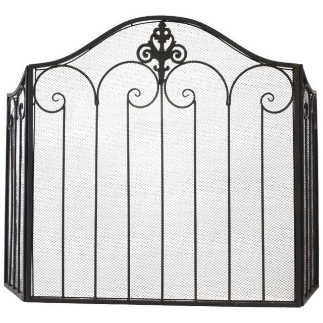 Style Ancien Pare Feu Ecran de Cheminée Grillagé Marron 120 cm