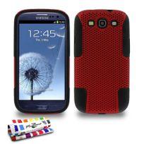 "Muzzano - Coque Rigide Ultra-Slim ""Alveolia Cross Premium"" Noir et rouge pour Samsung Galaxy S3"