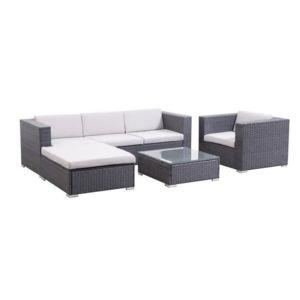 goa salon de jardin en r sine tress e gris pas cher achat vente rueducommerce. Black Bedroom Furniture Sets. Home Design Ideas