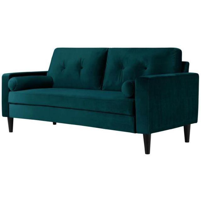 CANAPE - SOFA - DIVAN IBRA VELVET Canapé droit fixe 3 places - Velours bleu - Classique - L 181 x P 82,5 cm