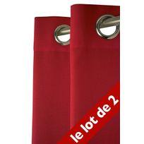 Le Linge De Jules - Lot de 2 Rideaux Unis 140x240 cm Rouge