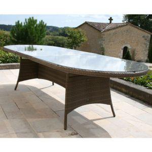 Proloisirs - Table de jardin ovale extensible Résine tressée Wicker ...