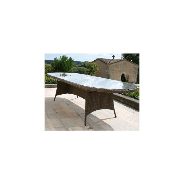 Proloisirs - Table de jardin ovale extensible Résine tressée ...