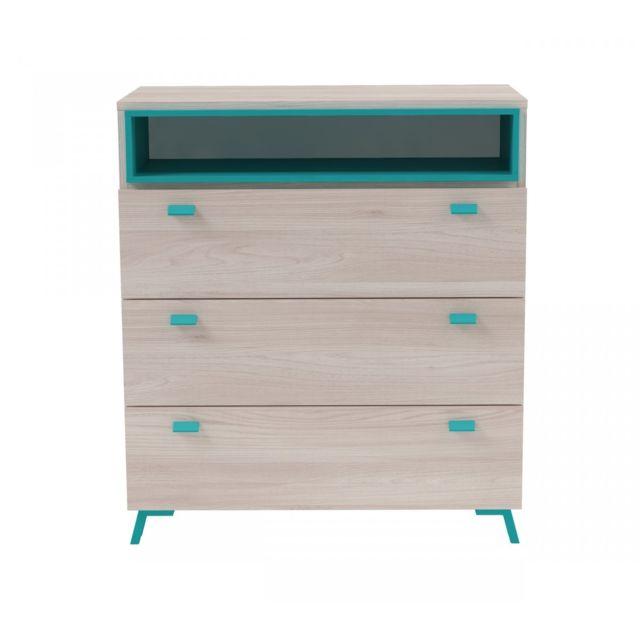 TERRE DE NUIT Commode 3 tiroirs 1 niche imitation bois clair et bleu CO4007