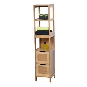 tendance colonne bambou 2 tiroirs mahe pas cher achat vente colonne de salle de bain. Black Bedroom Furniture Sets. Home Design Ideas