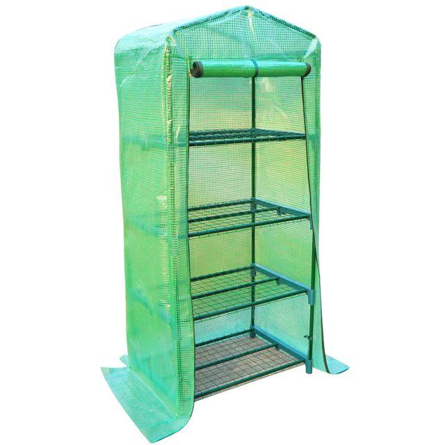 Serre de jardin balcon étagère serre 4 niveaux 0,7L x 0,5l x 1,6H m acier  galvanisé bâche amovible PE haute densité vert