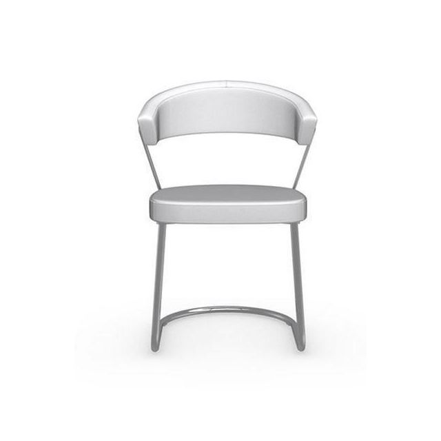 inside 75 chaise new york design italienne structure acier chrom assise cuir blanc optique. Black Bedroom Furniture Sets. Home Design Ideas
