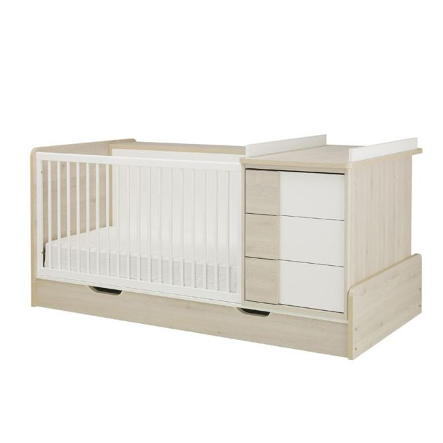 Tousmesmeubles Lit bébé combiné évolutif Blanc/Pin blanchi - Sweet