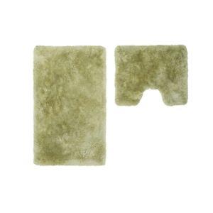 soldes deladeco set de tapis shaggy bain et wc vert lavable en machine double venezia pas. Black Bedroom Furniture Sets. Home Design Ideas