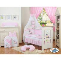 Autre - Lit et parure de lit bébé âne rose ciel de lit mousseline avec top coton 140 70