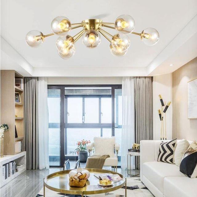 Lampe suspendue Luminaire Salon de plafond salle séjour moderne cuivre  chambre Designer Chandelier Art, 9 têtes, blanc lait
