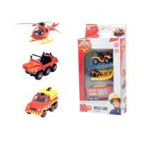 Dickie Toys - Set de 3 véhicules de secours Sam le pompier : Hélicoptère, camionnette et pick-up
