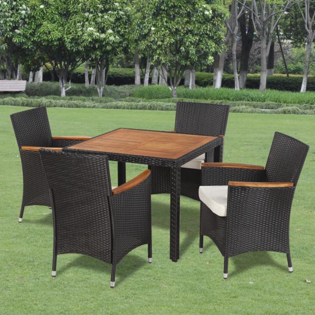 Table à manger avec plateau en bois et 4 chaises polyrotin