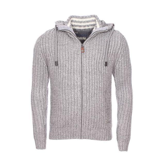 18285508db43 Superdry - Gilet zippé en laine mélangée gris chiné XXL - pas cher Achat   Vente  Gilet homme - RueDuCommerce