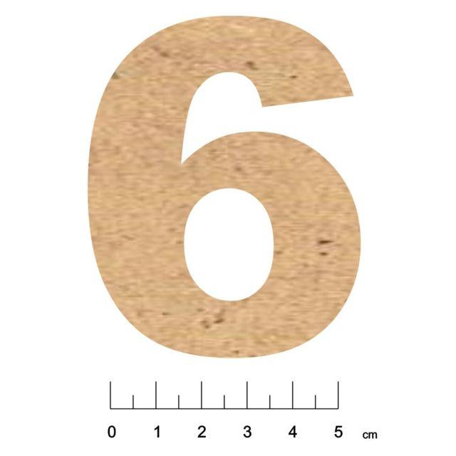 Terre & Bois CrÉATIONS - Chiffre en bois Mdf adhésif 7,5cm Chiffre 6 - Terre et Bois Créations