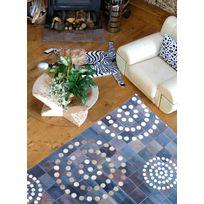 UN AMOUR DE TAPIS - Tapis CUIRE PRESTIGE bleu Tapis Naturel 160 x 230 cm bleu 160 x 230 cm