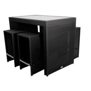 salon de jardin 4 places en r sine tress e table haute. Black Bedroom Furniture Sets. Home Design Ideas